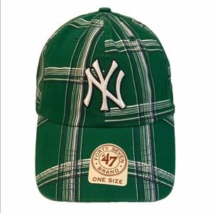 New York Yankees Twins Green Plaid Collision Cap